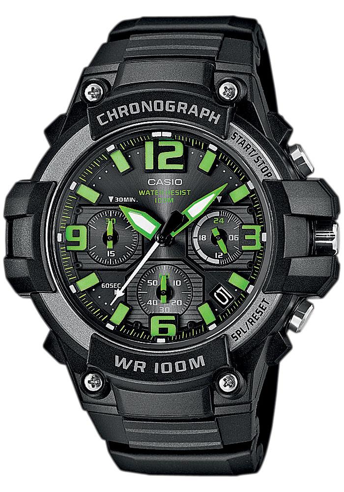 Часы мужские наручные Casio, цвет: черный, зеленый. MCW-100H-3A все цены