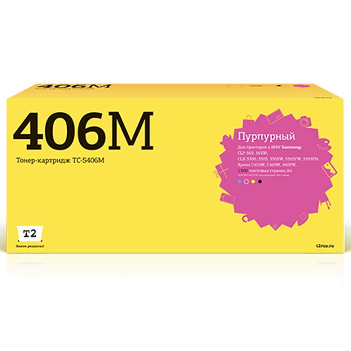 T2 TC-S406M, Magenta тонер-картридж (аналог CLT-M406S) для Samsung CLP-365/CLX-3300/3305/Xpress C410 t2 clt c406s tc s406c