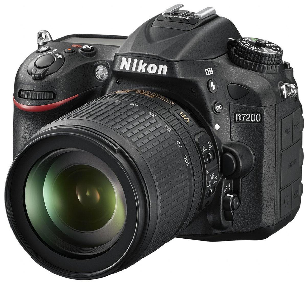 лучшая цена Nikon D7200 Kit 18-105 VR, Black цифровая зеркальная фотокамера