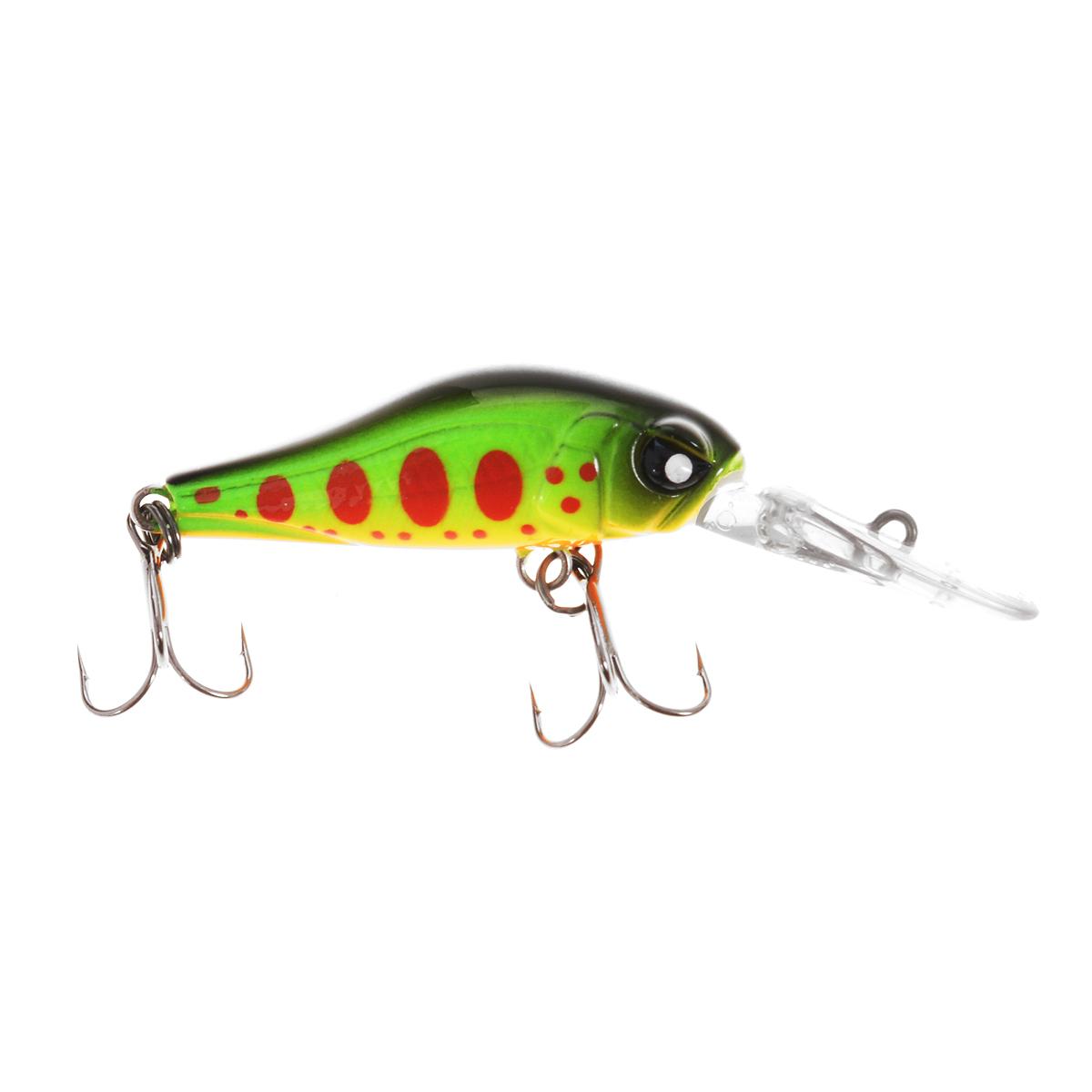Воблер плавающий Lucky John Basara, цвет: зеленый, желтый, красный, 3,5 см, 2 г воблер плавающий lucky john haira tiny shallow pilot цвет желтый черный белый 3 3 см 4 г