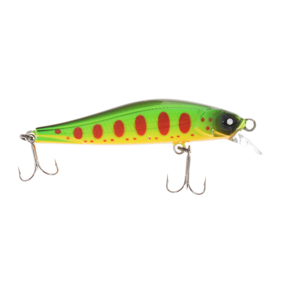 Воблер плавающий Lucky John Basara, цвет: зеленый, красный, оранжевый, 5,6 см, 3 г воблер плавающий lucky john haira tiny shallow pilot цвет желтый черный белый 3 3 см 4 г