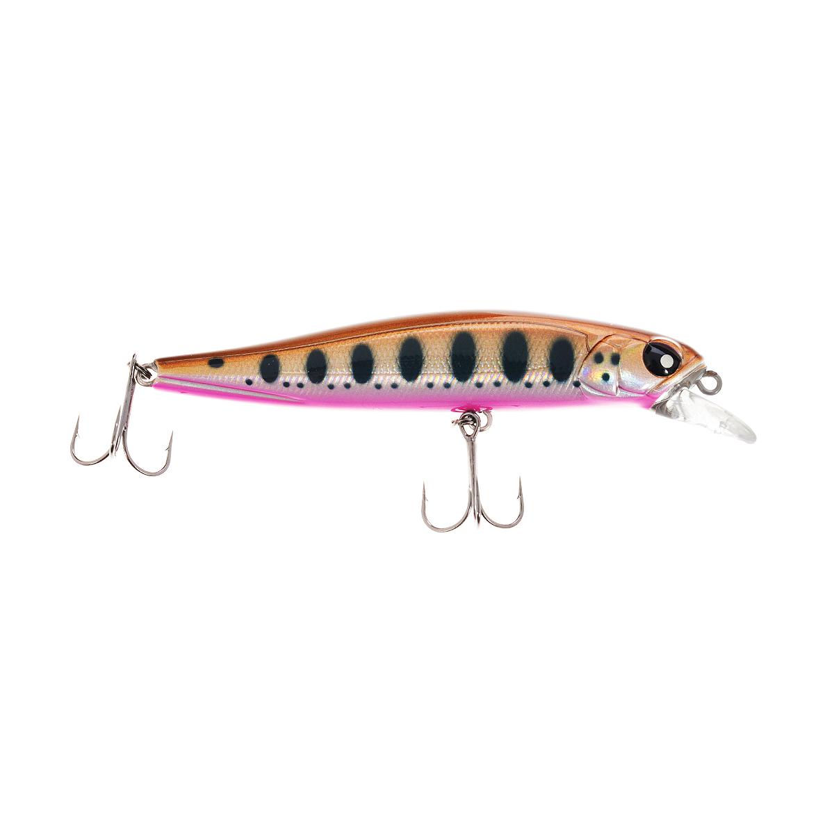 Воблер плавающий Lucky John Basara, цвет: коричневый, черный, розовый, 9 см, 10 г