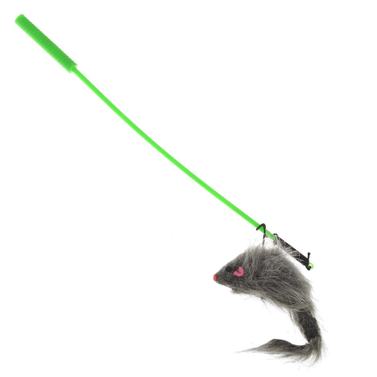 Игрушка для кошек V.I.Pet Дразнилка-удочка с мышью, цвет: серый, зеленый игрушка для кошек 1 лабиринт с двумя мячиками и дразнилкой цвет серый 28 x 5 x 28 см
