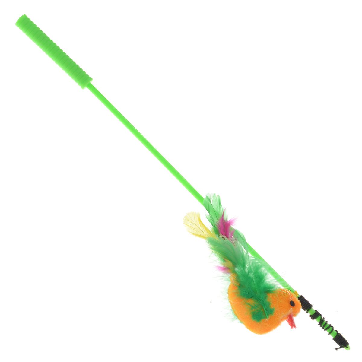 Дразнилка-удочка для кошек V.I.Pet Птица с перьями, цвет: салатовый дразнилка удочка для кошки грызлик ам шарик eco с перьями длина палочки 40 см
