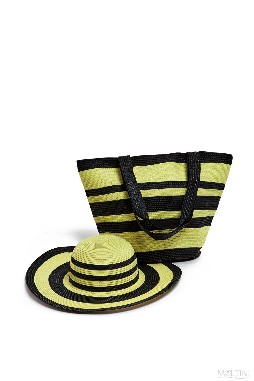 Комплект Moltini: сумка, шляпа, цвет: желтый, черный. 15J018