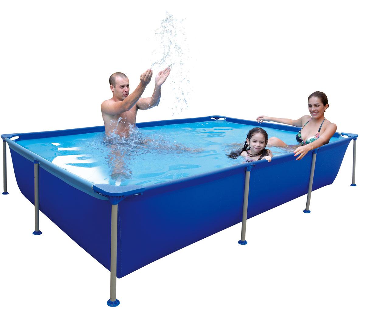 Бассейн каркасный Jilong Rectangular, семейный, цвет: голубой, 258 см х 179 см х 66 см бассейны jilong round stell frame pools 360х76 см с фильтр насосом
