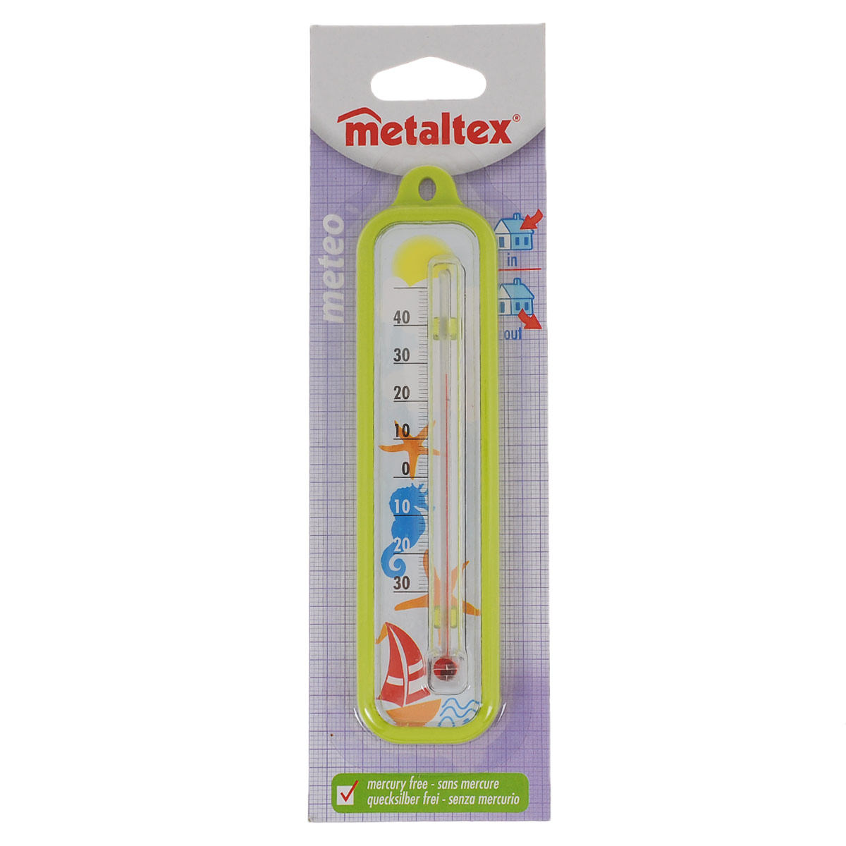 Термометр Metaltex Meteo, цвет: салатовый metaltex 25 24 50