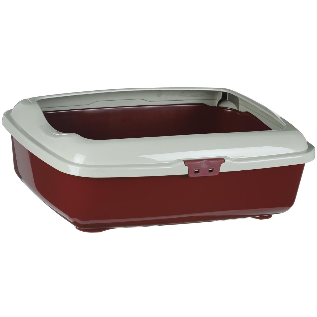 """Туалет для кошек Marchioro """"Goa"""", с бортом, цвет: бордовый, бежевый, 48,5 см х 36 см х 16 см"""