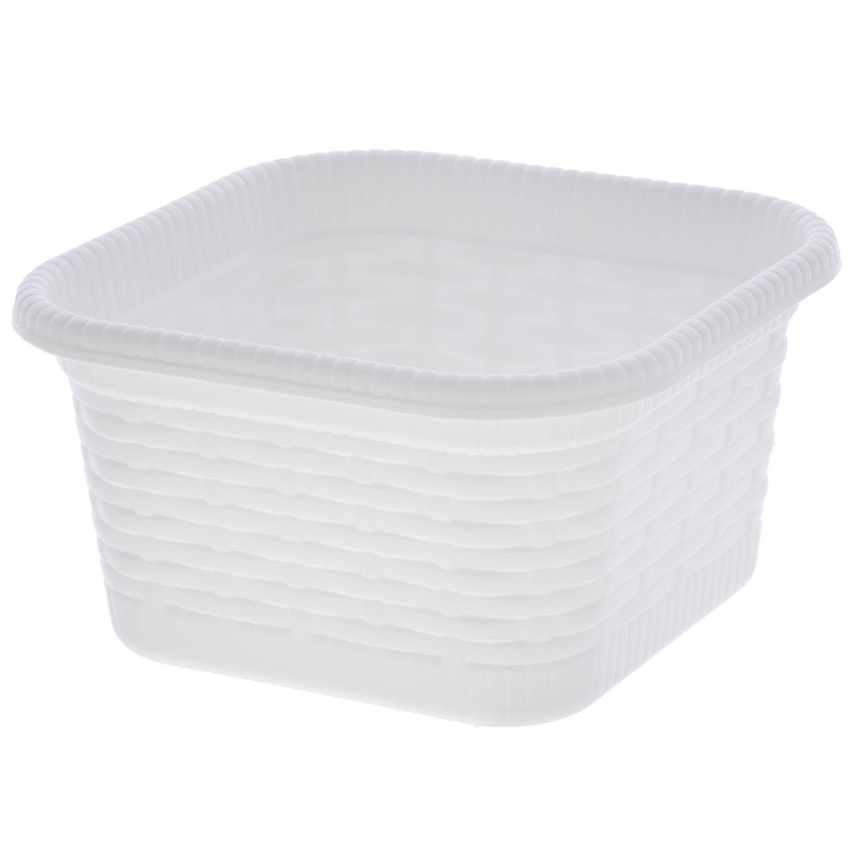 Корзина хозяйственная Gensini Rattan, цвет: белый, 15 х 15 х 8 см корзина для хранения арт студия решетняк винтаж средняя 15 х 12 см