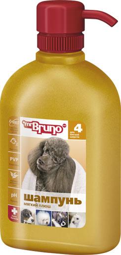 Шампунь-кондиционер для собак Mr. Bruno Мягкий плюш, для мягкой шерсти, 350 мл mr bruno mr bruno шампунь кондиционер для короткой шерсти глянцевый блеск