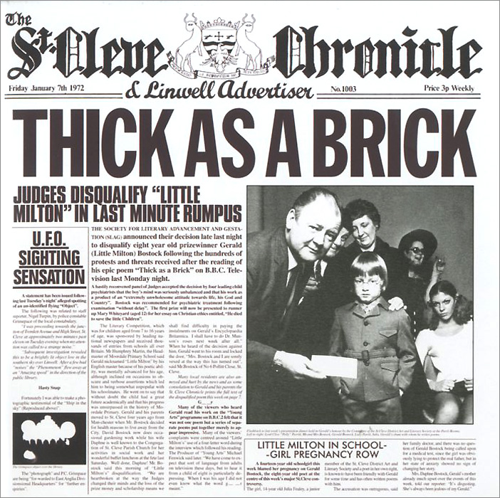 Jethro Tull Jethro Tull. Thick As A Brick jethro tull this was lp
