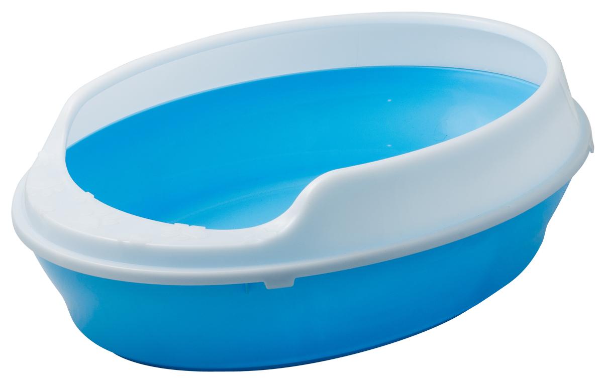 Туалет для кошек VIPet Галакси, с бортом, цвет: голубой, 55 см х 41 см х 15 см лоток для кошек vanness с аксессуарами цвет голубой бежевый 48 см х 38 см х 19 см