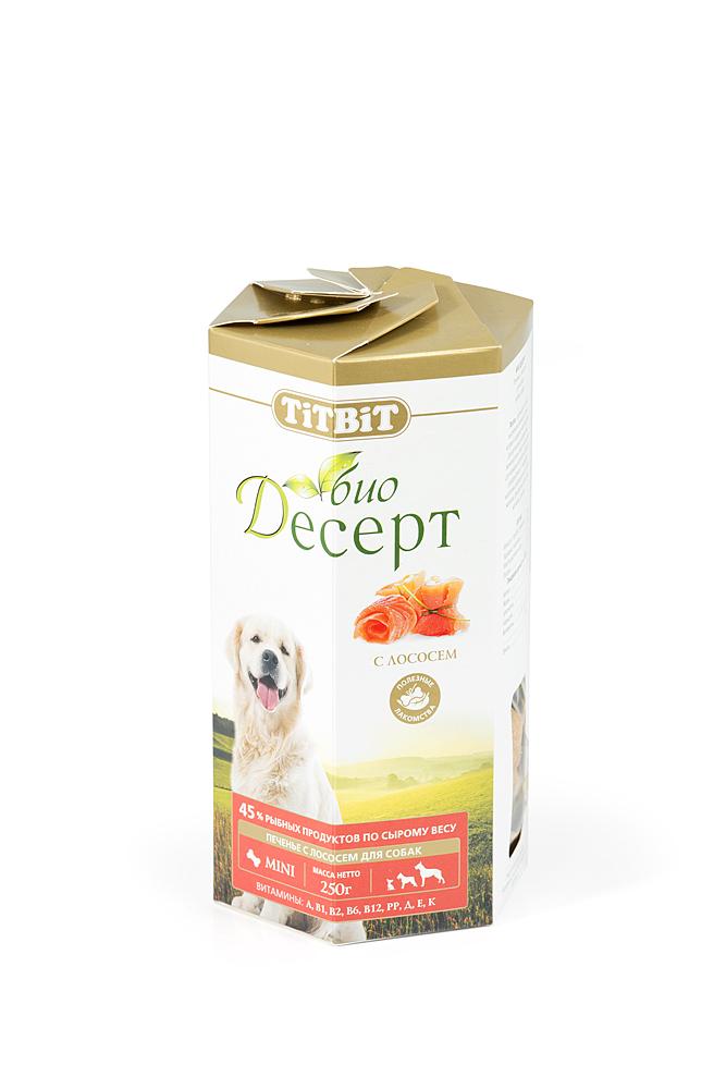 """Лакомство для собак Titbit """"Био Десерт"""", печенье с лососем"""