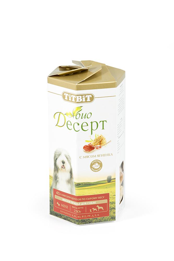 """Лакомство для собак Titbit """"Био Десерт"""", печенье с мясом ягненка, 250 г"""
