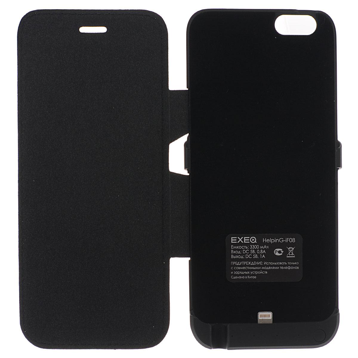 EXEQ HelpinG-iF08 чехол-аккумулятор для iPhone 6, Black (3300 мАч, флип-кейс)