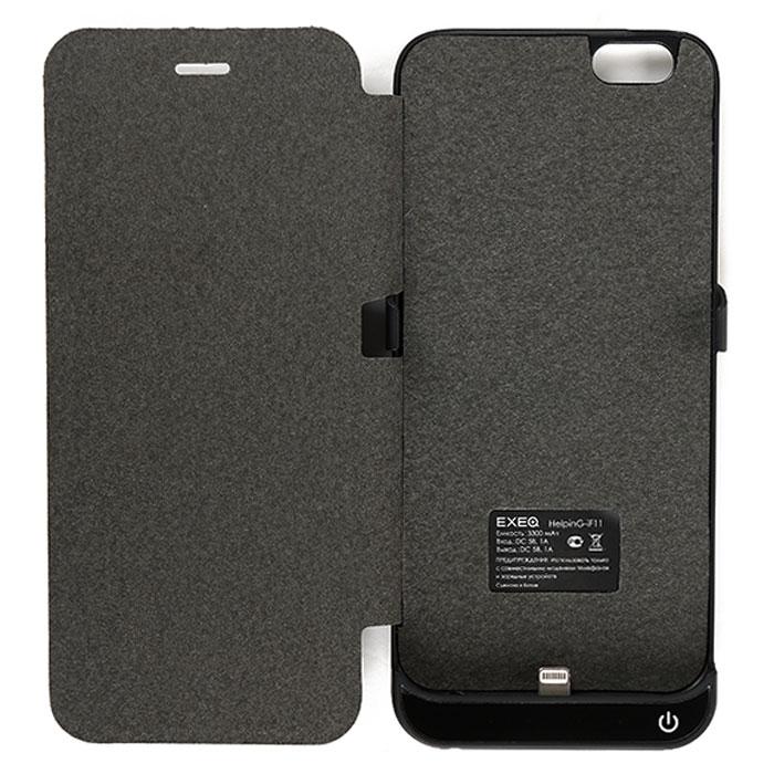 цена EXEQ HelpinG-iF11 чехол-аккумулятор для iPhone 6, Black (3300 мАч, флип-кейс)