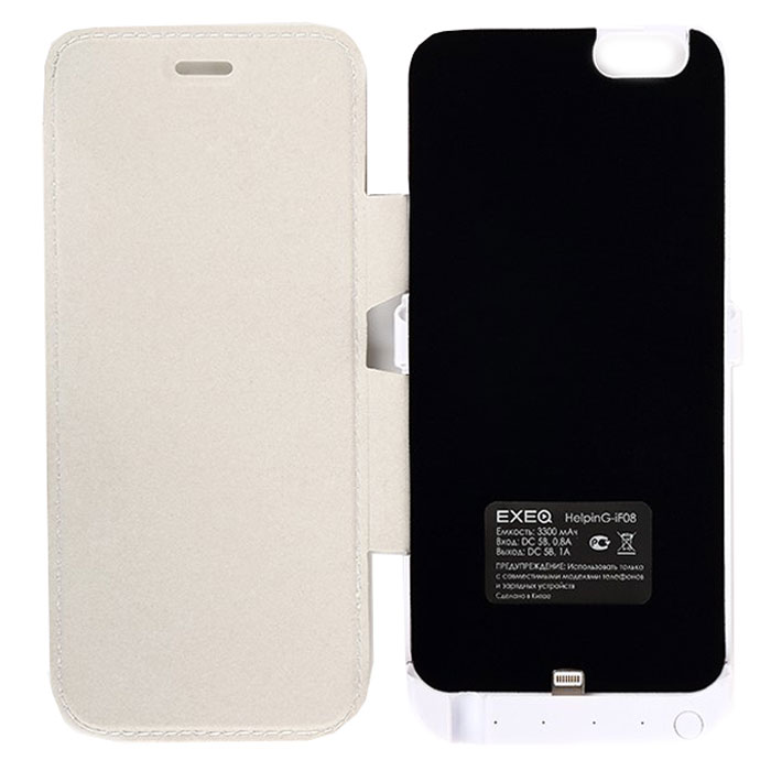 EXEQ HelpinG-iF08 чехол-аккумулятор для iPhone 6, White (3300 мАч, флип-кейс)