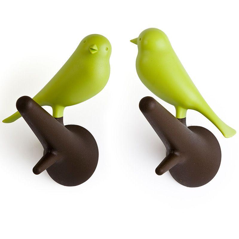 Набор настенных вешалок Qualy Sparrow, цвет: коричневый, зеленый, 2 шт аксессуар qualy sparrow ql10118 bk black антилед