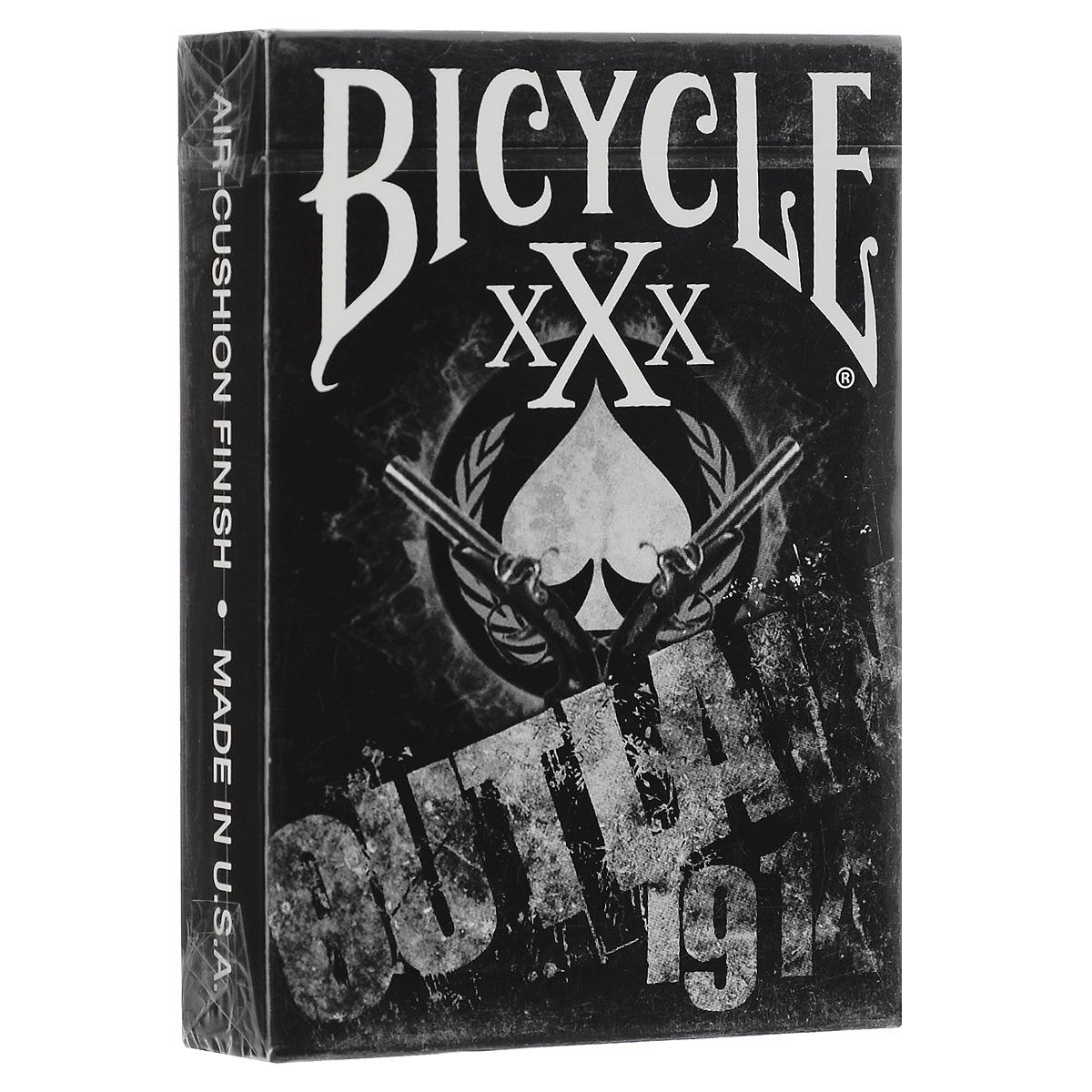 Игральные карты Bicycle Outlaw, цвет: черный, белый mymei outdoor 90db ring alarm loud horn aluminum bicycle bike safety handlebar bell