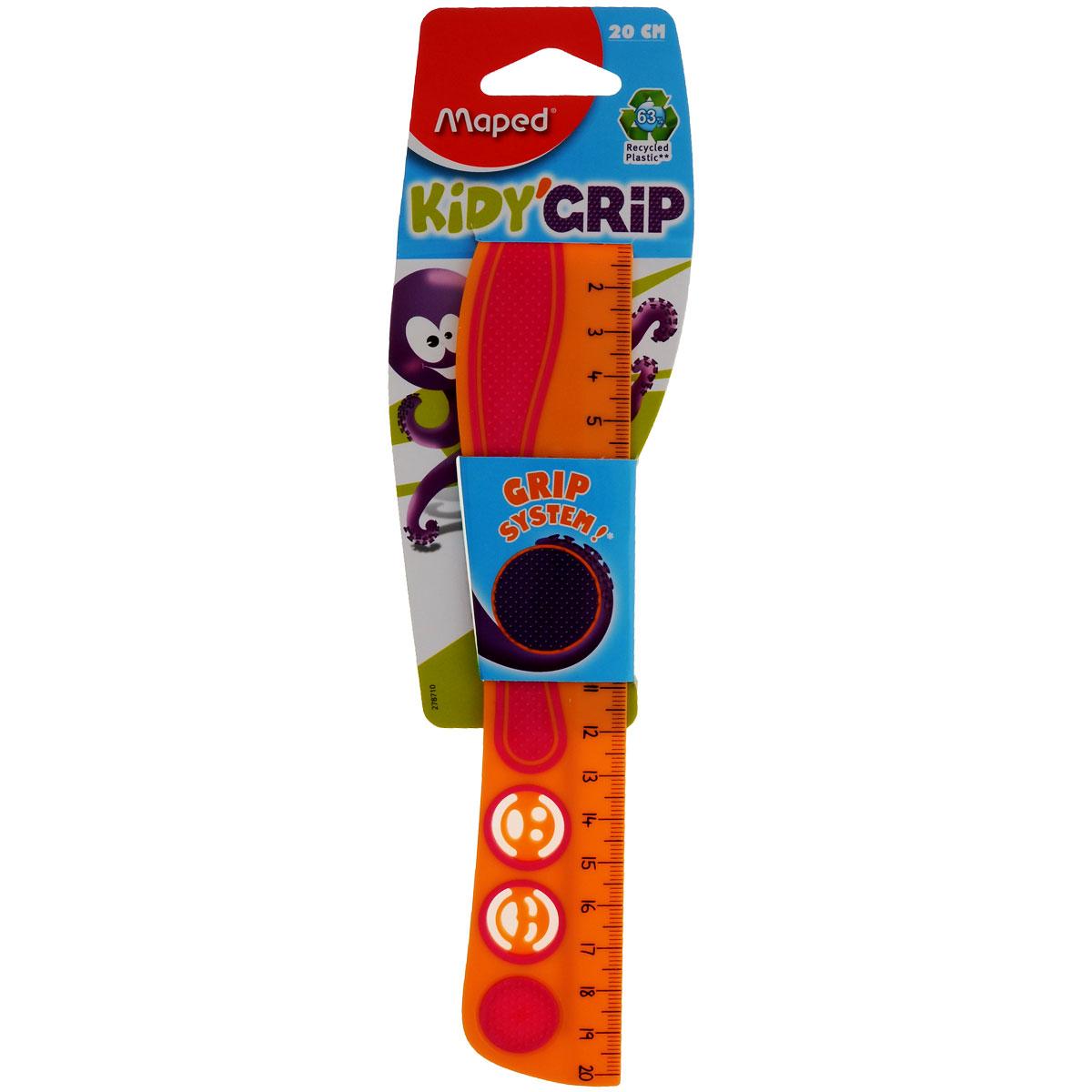 Линейка Maped Кidi Grip, нескользящая, 20 см, цвет: оранжевый, розовый линейка maped twist n flex неломающаяся цвет голубой 20 см
