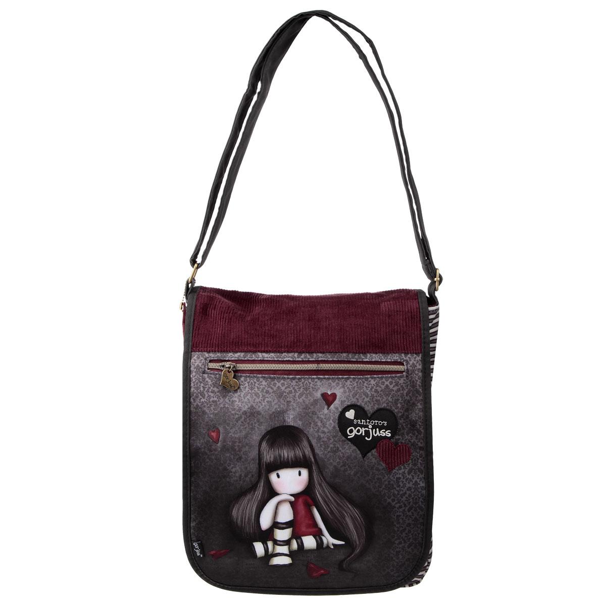 Сумка молодежная Santoro Gorjuss, цвет: серый, бордовый сумка для девочки santoro toadstools цвет синий 0012417