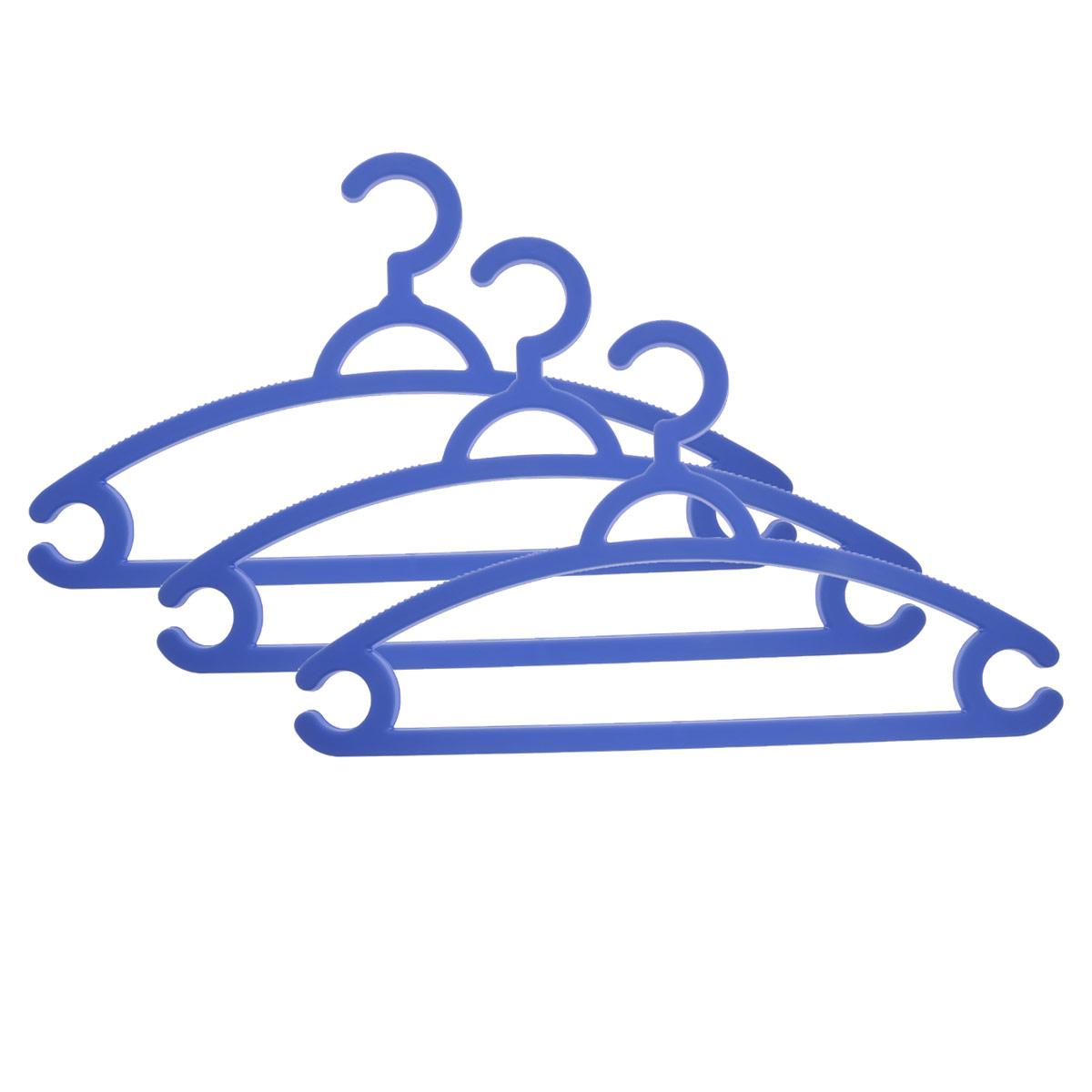 Набор вешалок для легкой одежды М-пластика, цвет: голубой, 3 шт набор вешалок для одежды home queen цветы цвет голубой белый 3 шт