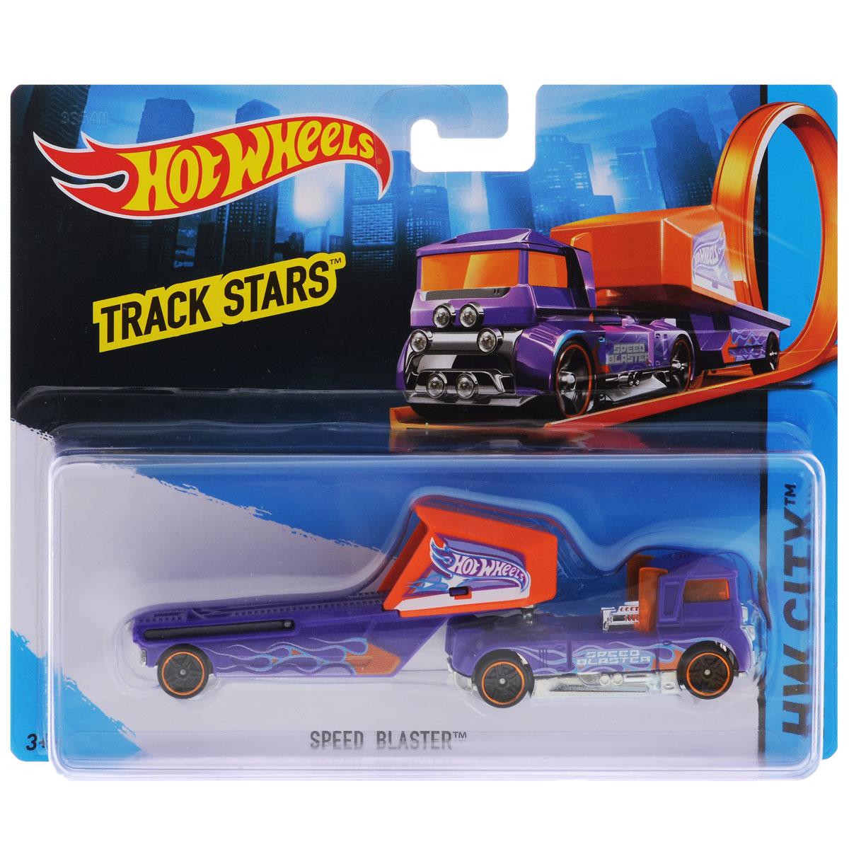 Hot Wheels Track Stars Трейлер Speed Blaster цвет фиолетовый hot wheels track stars трейлер aero blast