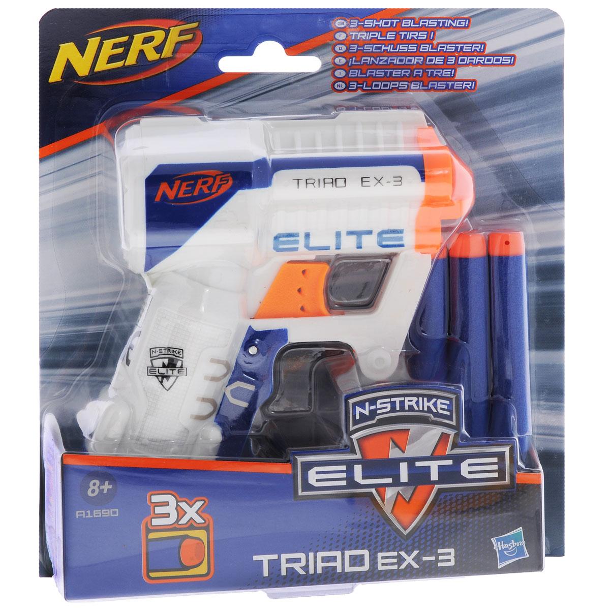 Nerf Бластер N-Strike Elite: Triad EX-3, с патронами, цвет: белый, синий, оранжевый nerf бластер elite disruptor