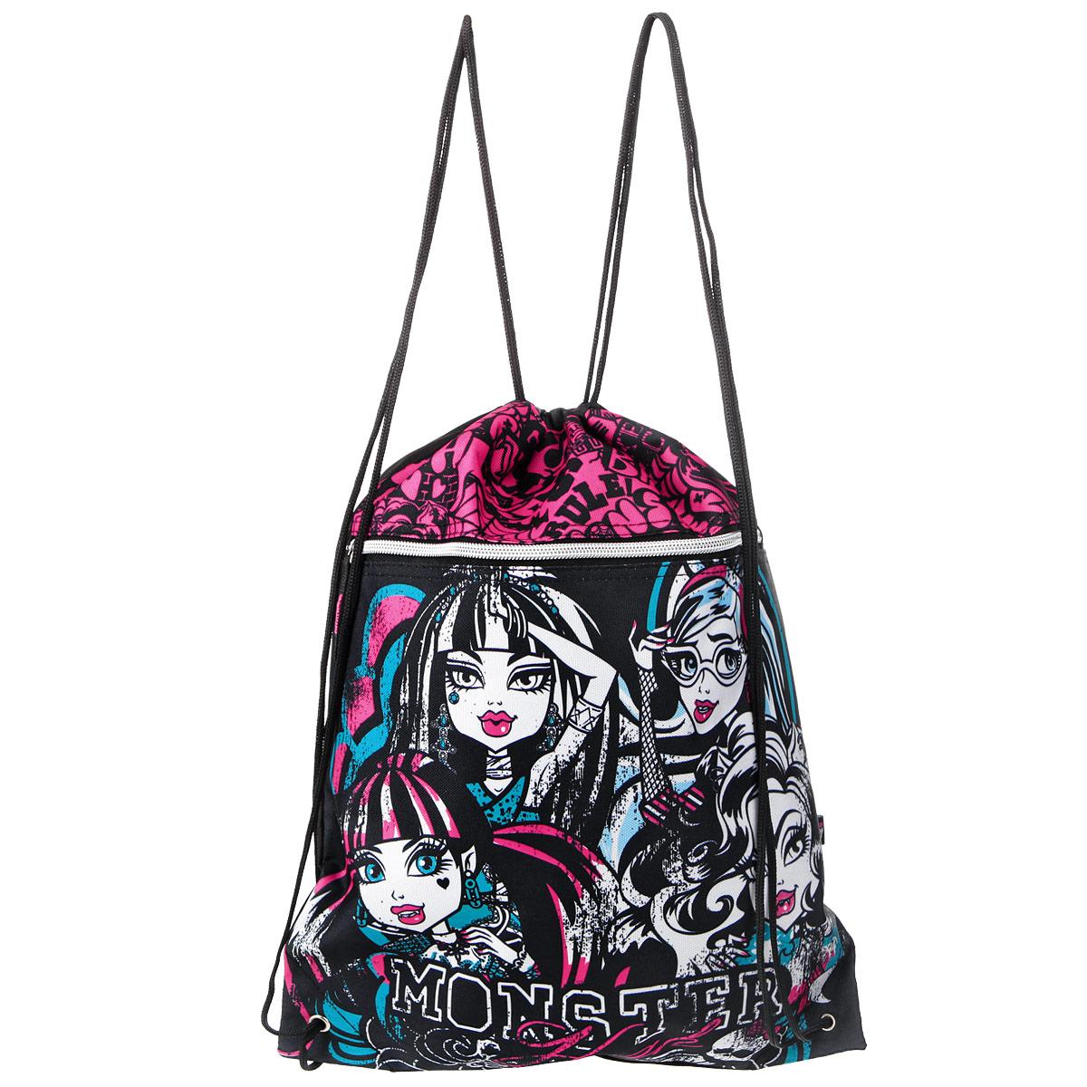 """Сумка для сменной обуви """"Monster High"""", цвет: черный, белый, розовый, бирюзовый"""