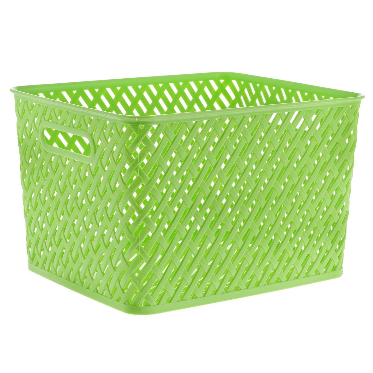 Корзина Альтернатива Плетенка, цвет: салатовый, 35 х 29 х 22,5 см корзина для хранения альтернатива вдохновение цвет салатовый 26 5 х 16 5 х 10 см