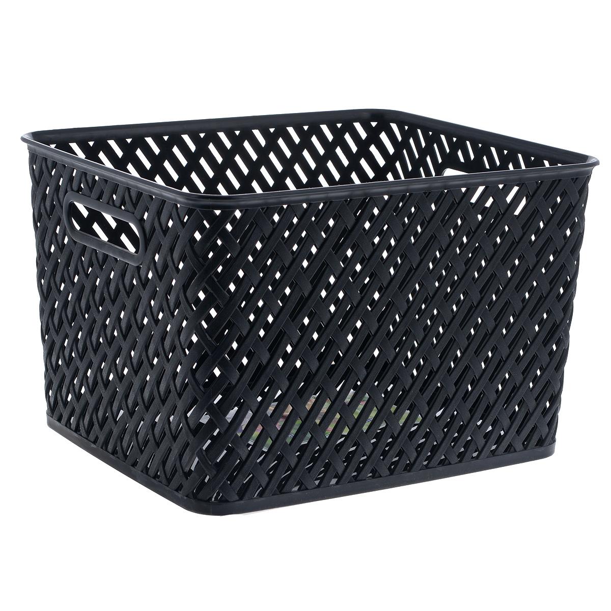 Корзина Альтернатива Плетенка, цвет: черный, 35 см х 29 см х 22,5 см цена