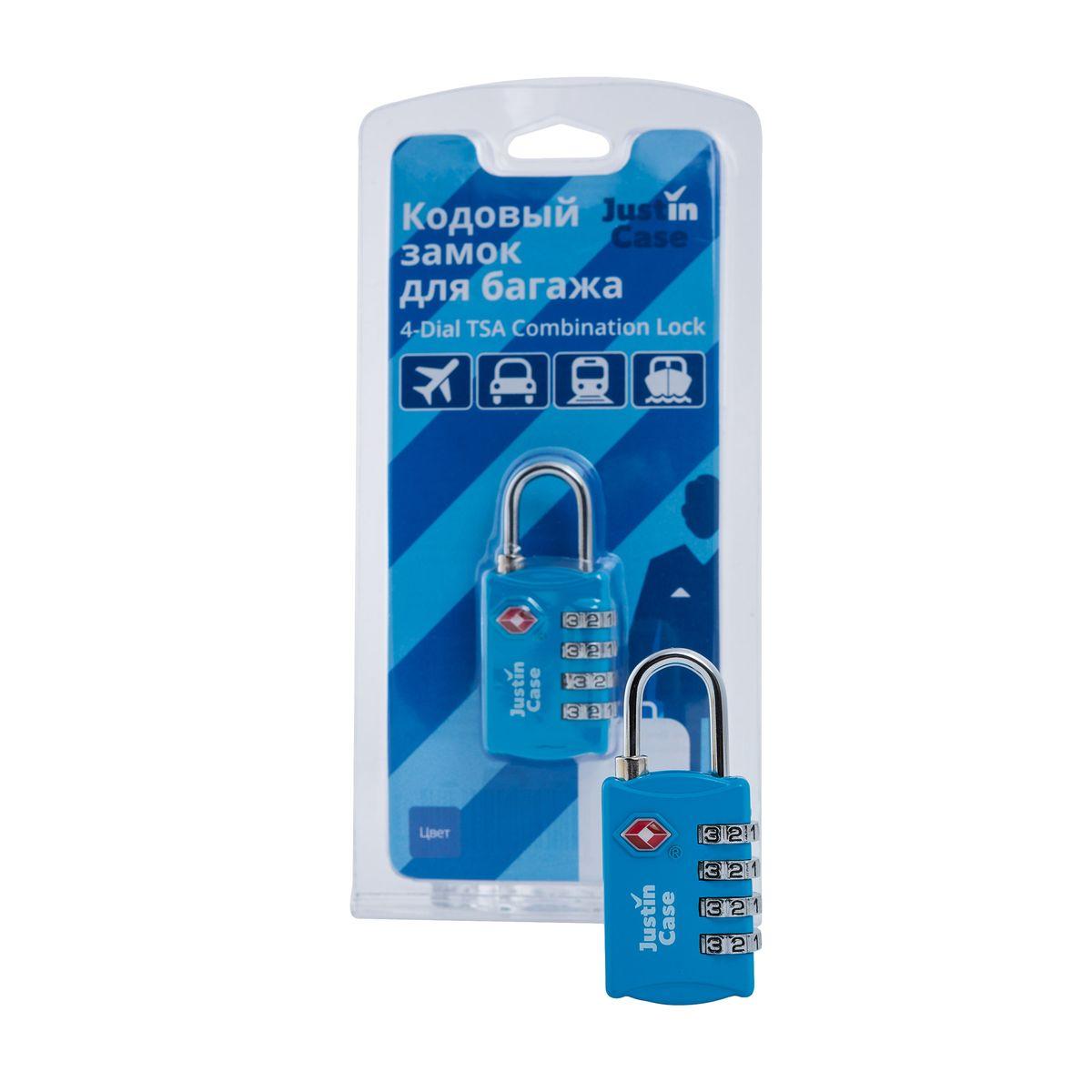цена на Замок кодовый для багажа JustinCase 4-Dial TSA Combination Lock, цвет: голубой