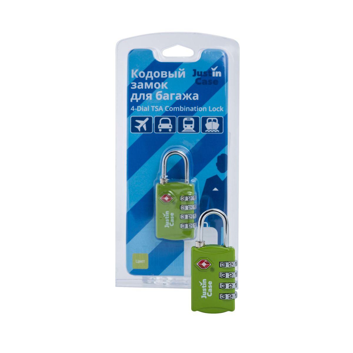 цена на Замок кодовый для багажа JustinCase 4-Dial TSA Combination Lock, цвет: зеленый
