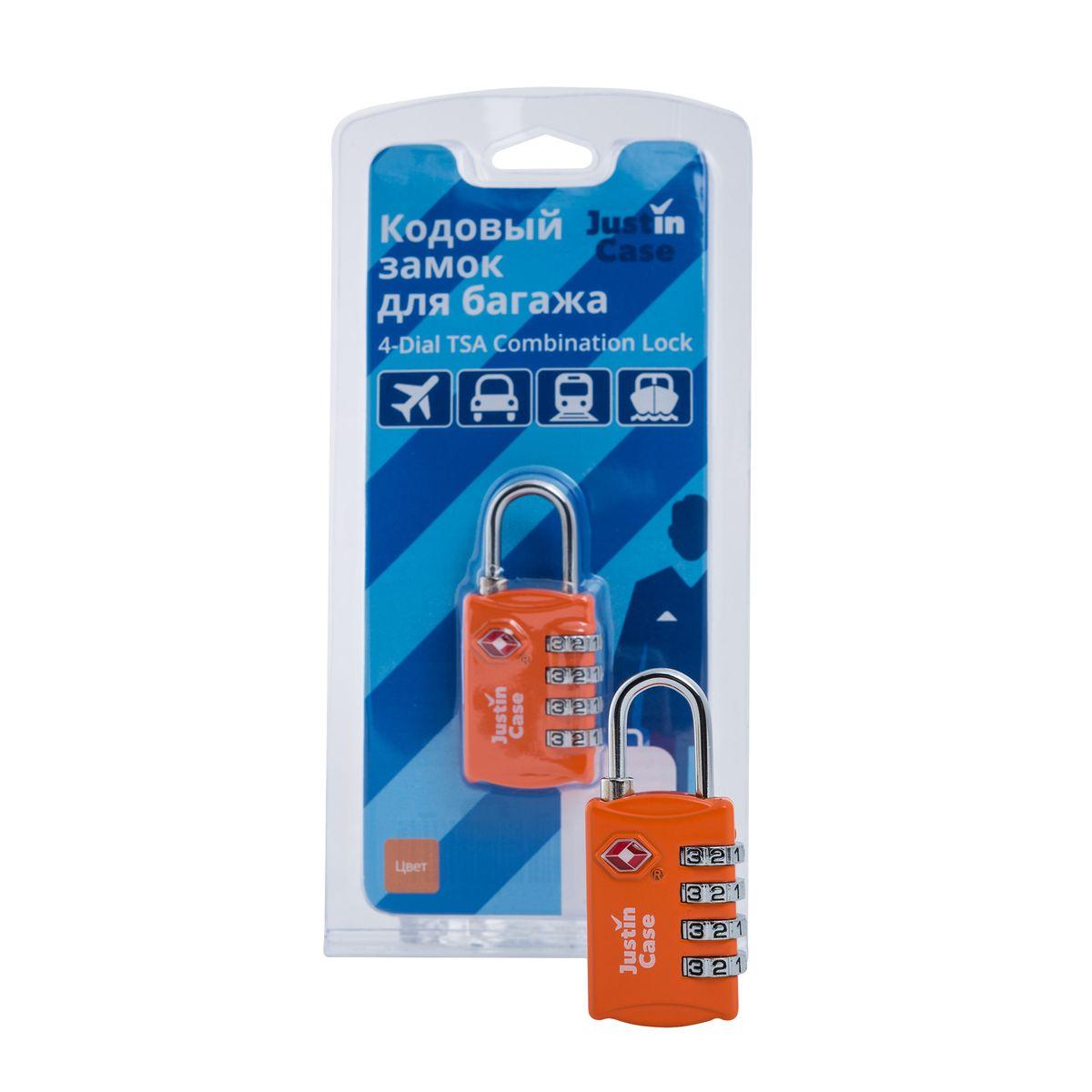 цена на Замок кодовый для багажа JustinCase 4-Dial TSA Combination Lock, цвет: оранжевый