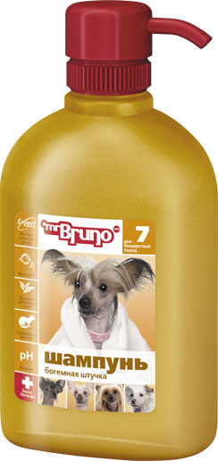 Шампунь-кондиционер для собак Mr. Bruno Богемная штучка, для бесшерстных пород, 350 мл шампунь для собак mr bruno 12 дезодорирующий от специфического запаха