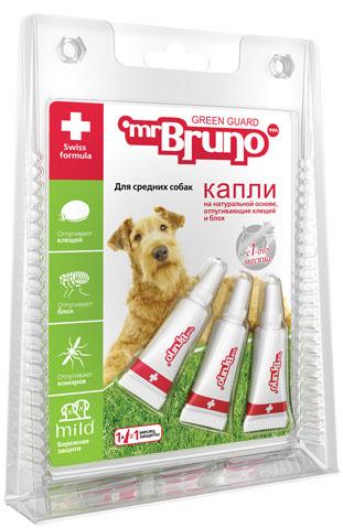 """Капли репеллентные """"Mr. Bruno"""", для средних собак весом от 10 до 30 кг, 2,5 мл, 3 шт"""