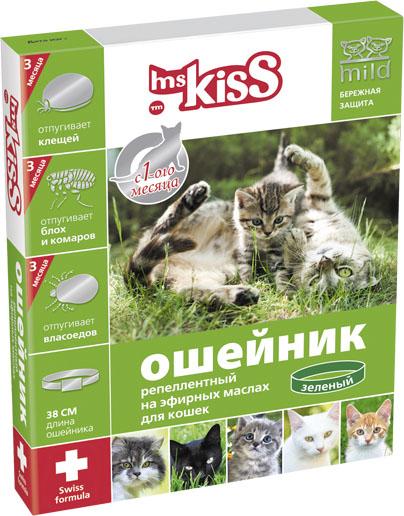 Ошейник для кошек Ms. Kiss, репеллентный, цвет: зеленый, длина 38 см ошейник для кошек ms kiss репеллентный цвет зеленый длина 38 см