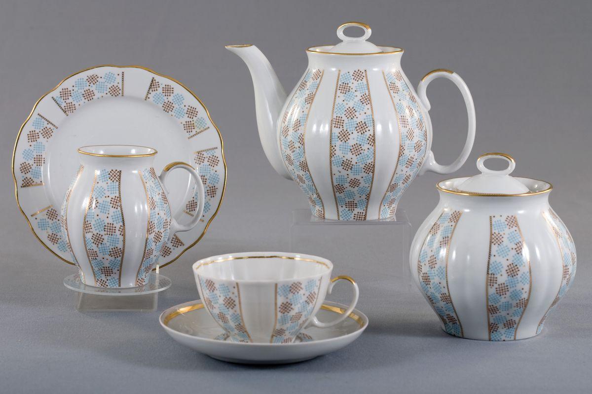 Чайный сервиз Дулевский фарфор Конфетти (Белый лебедь), 21 предмет сервиз чайный дулевский фарфор белый лебедь московский с лентой 15 предметов