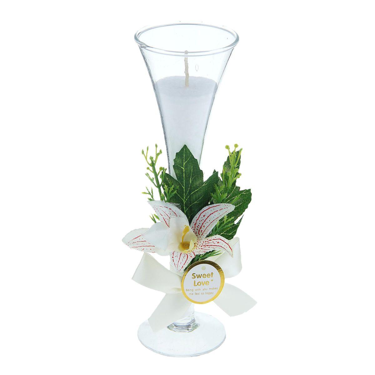 Свеча Sima-land Орхидея, цвет: белый, высота 20,5 см открытка sima land в день свадьбы беседка и цветы