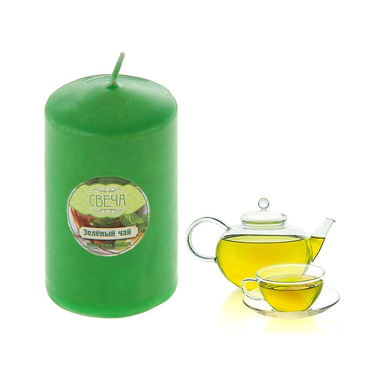 """Свеча ароматизированная Sima-land """"Зеленый чай"""", высота 10 см. 849605"""