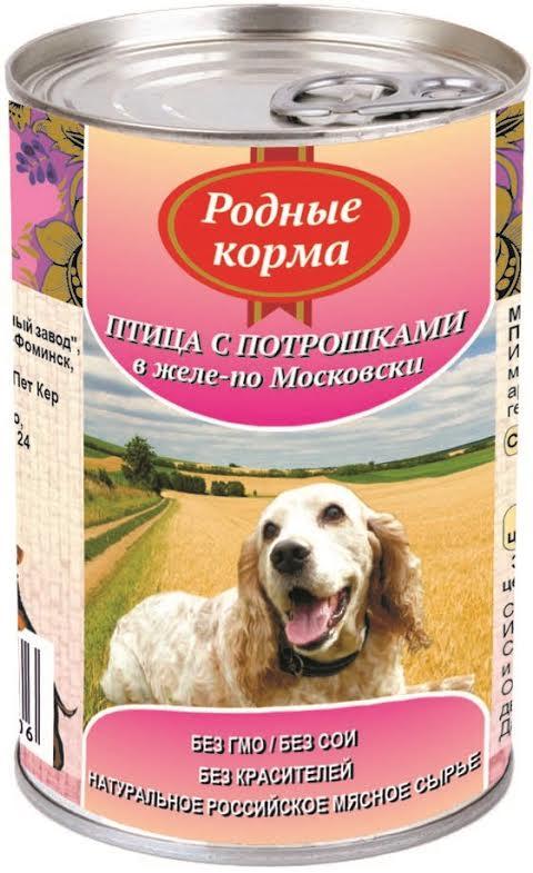 """Консервы для собак """"Родные корма"""", птица с потрошками в желе по-московски, 410 г"""