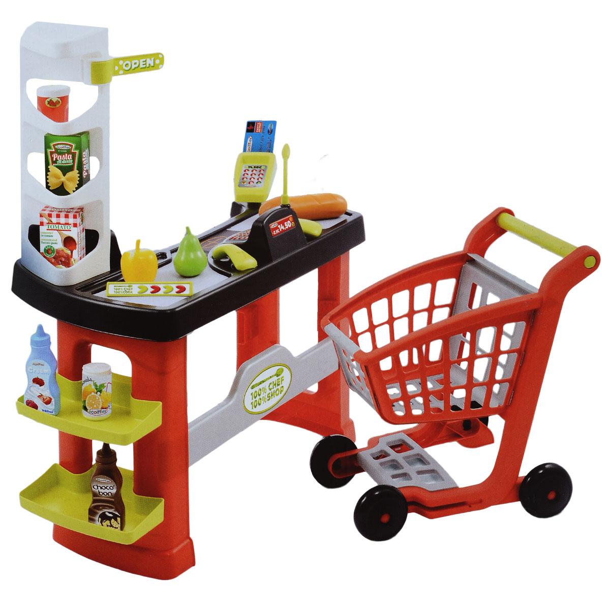 Игровой набор Ecoiffier Супермаркет с тележкой, 20 предметов набор игровой ecoiffier сушилка для посуды посуда 39 предметов