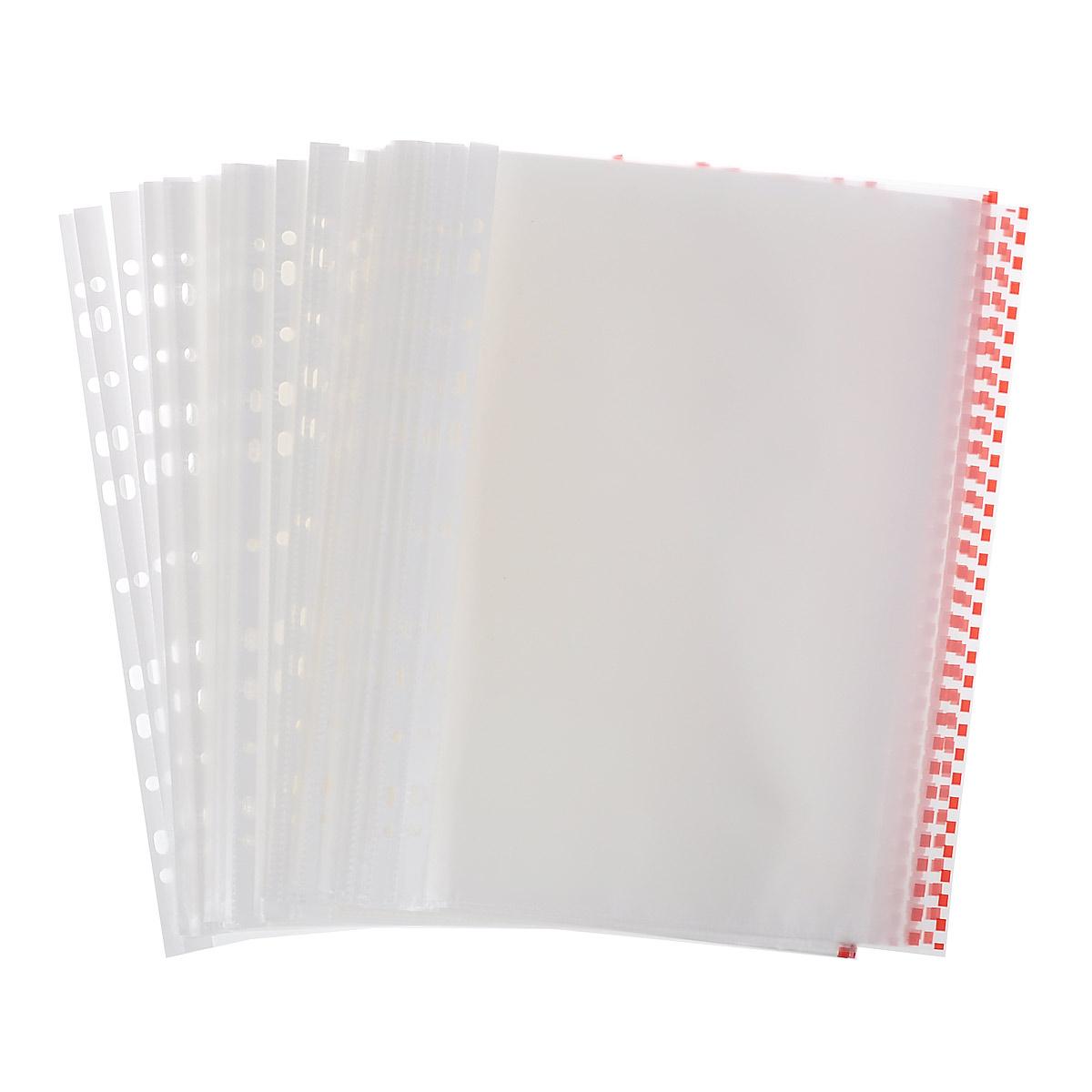 Перфофайл пластиковый ErichKrause Semi-Clear Economy, с цветной полосой, A4, прозрачный, красный, 100 шт
