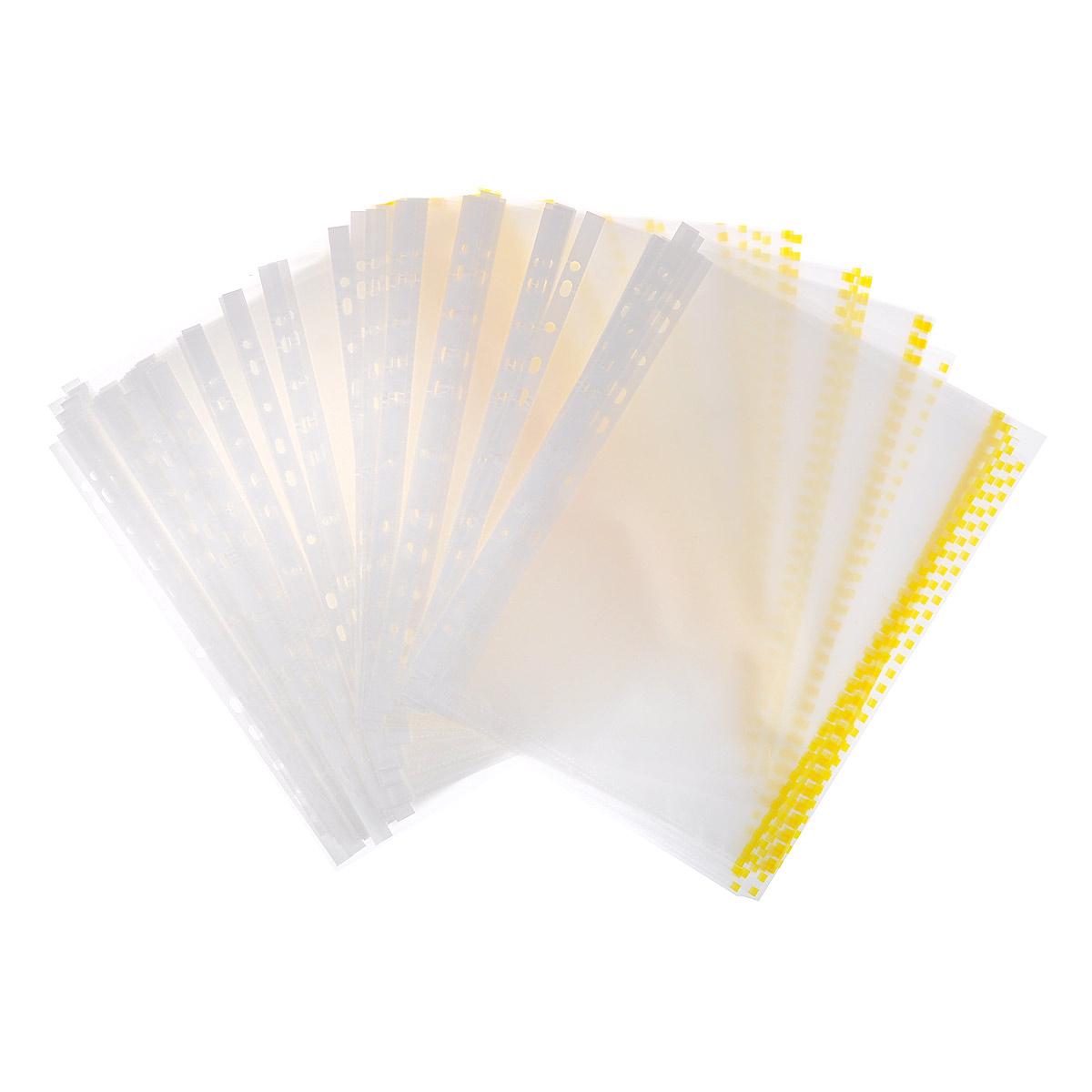 Перфофайл пластиковый ErichKrause Semi-Clear Economy, с цветной полосой, A4, прозрачный, желтый, 100 шт