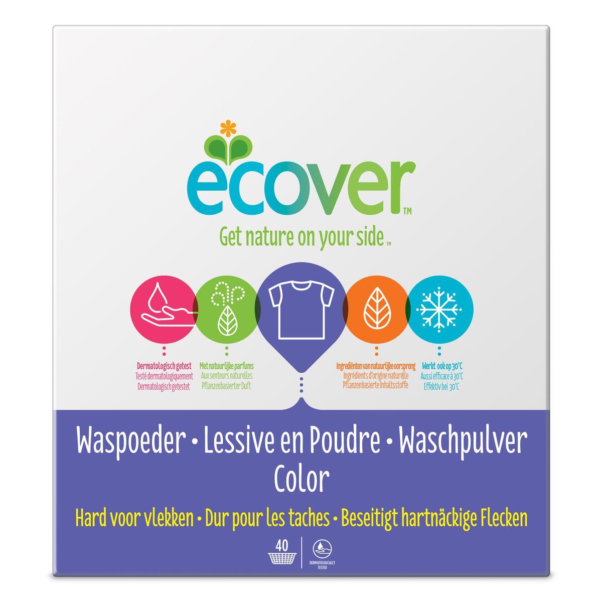 Экологический стиральный порошок Ecover, концентрат, для цветного белья, 3 кг экологический суперочищающий спрей ecover универсальный 500 мл