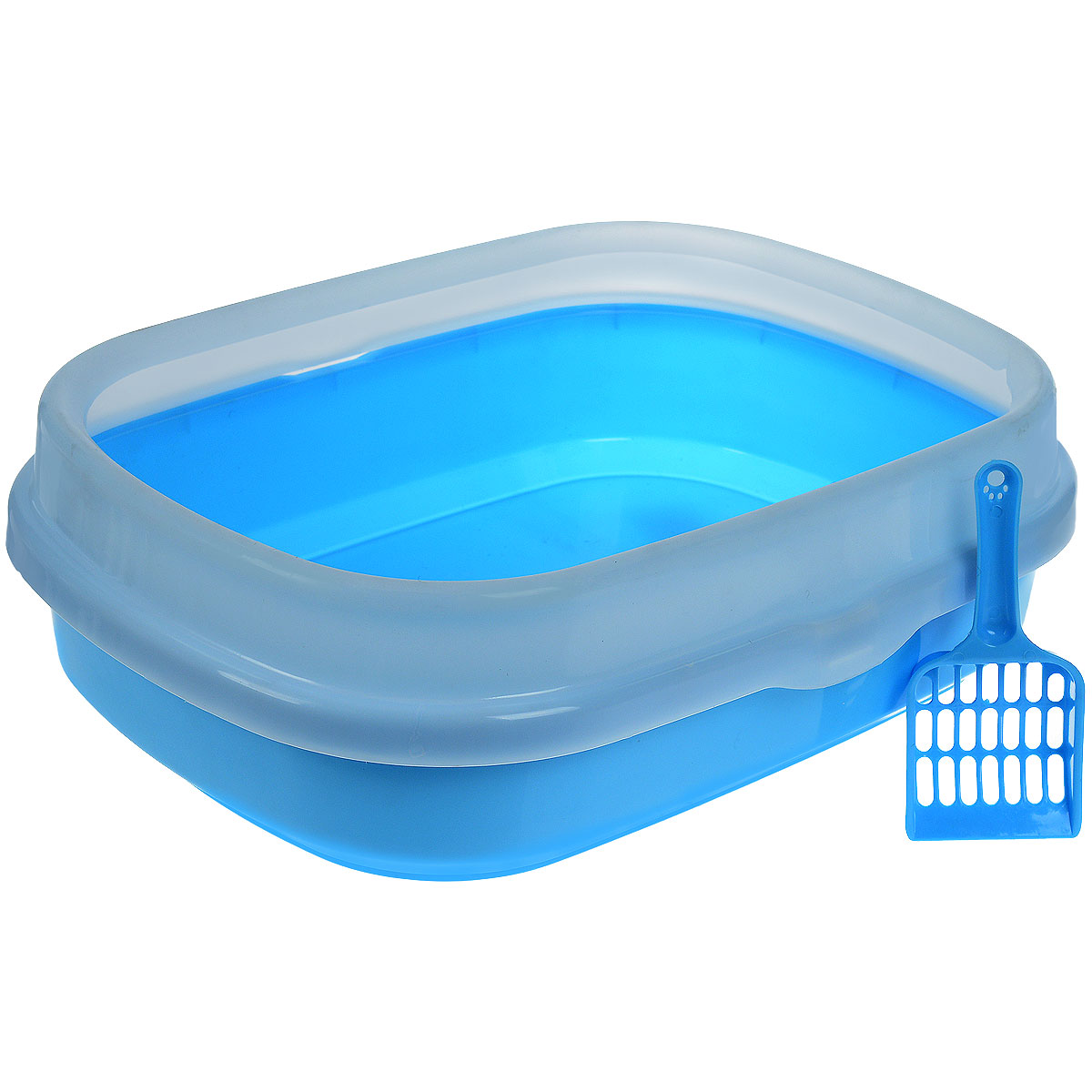 Туалет для кошек Галакси, с бортом, совком, цвет: голубой, белый, 54 см х 42 17