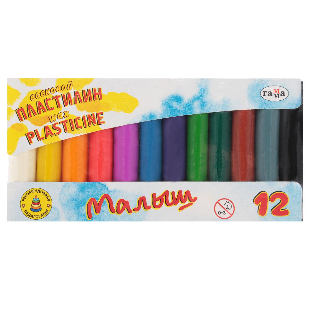 Пластилин восковой Гамма Малыш, 12 цветов набор для лепки гамма пластилин классический 12 цветов 240g 281033