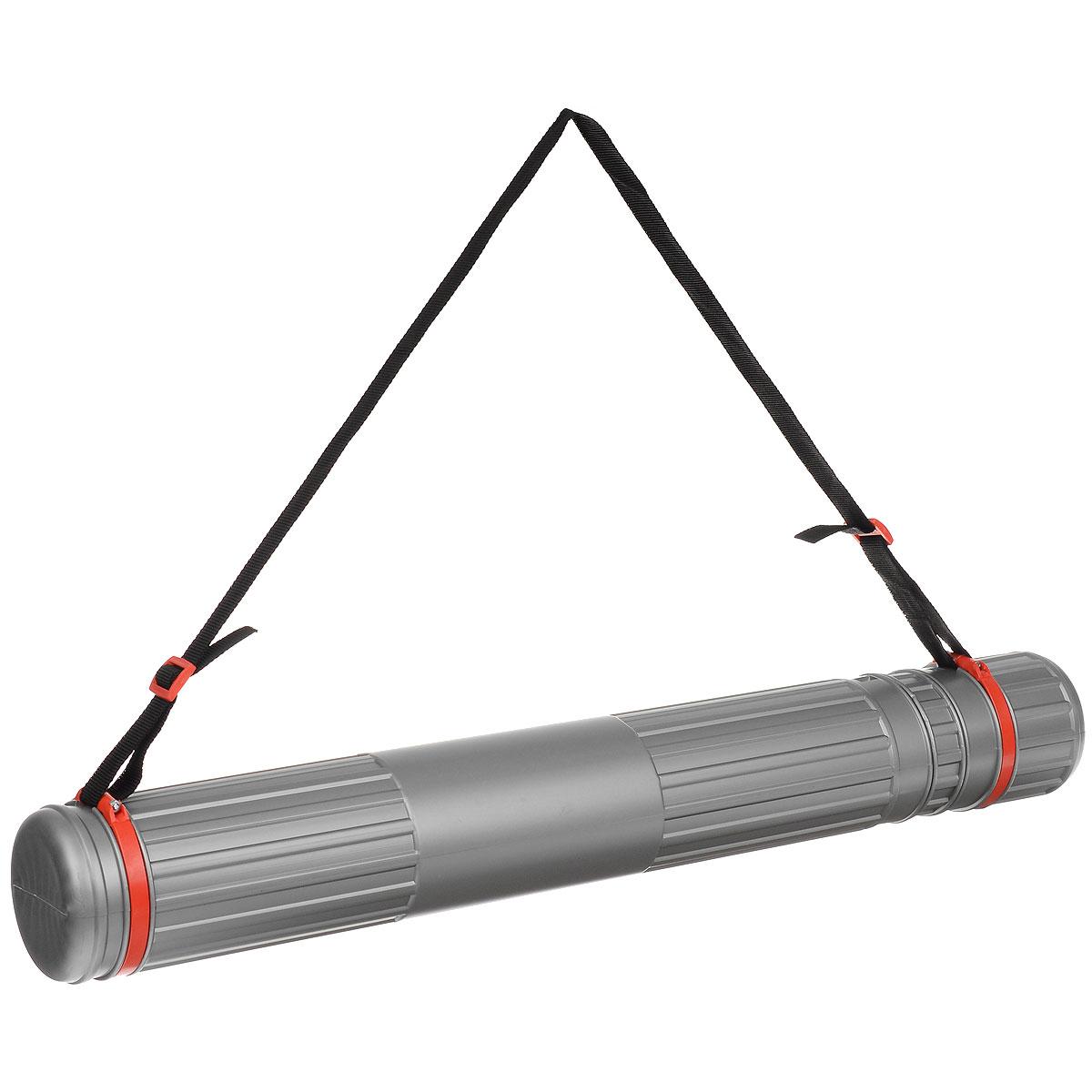 Тубус телескопический  Стамм , на ремне, цвет: серый, красный, 9 cм