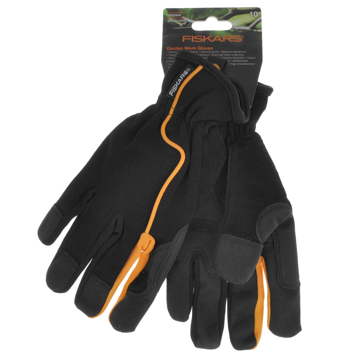 """Перчатки садовые """"Fiskars"""", цвет: черный, оранжевый. Размер 10"""