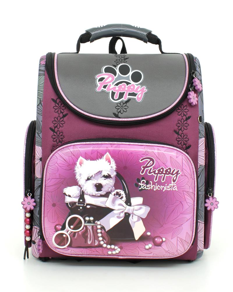 """Ранец школьный Hummingbird """"Puppy Fasionista"""", цвет: фиолетовый, серый, черный. K89"""